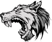 Wolf-Maskottchen-Kopf-Karikatur-Wolf-Maskottchen-Kopf-Karikatur Stockfoto