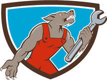 Wolf Mechanic Spanner Shield Cartoon Lizenzfreie Stockbilder