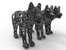Wolf mesh statues Stock Photo