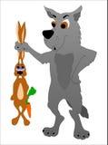 Wolf mit einem Hasen Stockfotos