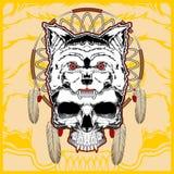 Wolf mit Schädelhandzeichnungsvektor lizenzfreie abbildung