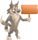 Wolf mit Zeichen Lizenzfreie Stockfotografie