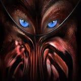 Wolf mit Zusammenfassung der blauen Augen Stockfotografie