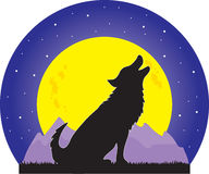 Wolf and Moon Stock Image