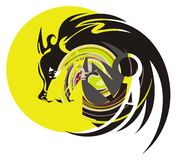 Wolf and moon. Colorful symbol of howling wolf at the full moon Royalty Free Stock Photos