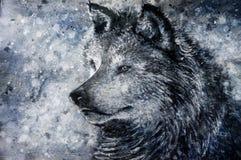 Wolf op sneeuwachtergrond Royalty-vrije Stock Afbeeldingen
