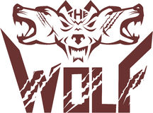 Wolf Pack Head Retro illustration de vecteur