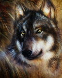 Wolf painting. Color  background on paper , multicolor illustration Royalty Free Stock Photos