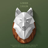 Wolf poly head. Polygonal head of wolf. Vector illustration. The hunting trophy on the wall vector illustration