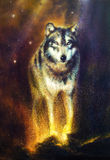 Wolf portrait, mighty cosmical wolf walking from light, beautiful detailed oil painting on canvas. Royalty Free Stock Image