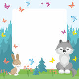 Wolf and rabbit background Stock Images