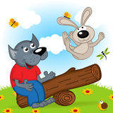Wolf and rabbit on a swing Royalty Free Stock Images