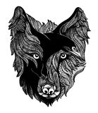Wolf and Raven Art Illustration. Wolf and raven black and white art illustration Stock Image