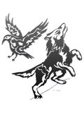 Wolf and raven - gradient. This is a picture of tribal wolf and raven Stock Images