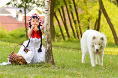 Wolf and red riding hood Royalty Free Stock Image