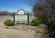 Wolf River Greenway Sign Royalty Free Stock Images