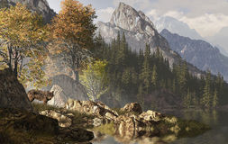 Wolf And The Rocky Mountains. Wolf near a lake in a Rocky Mountain landscape vector illustration
