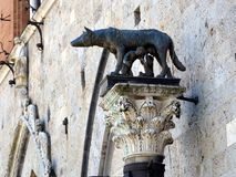 Wolf and Romulus Remus Sculpture, Sienna, Italy Royalty Free Stock Photography