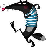 Wolf. Running wolf in a striped shirt. On a white background. Vector illustration. Authors drawing Royalty Free Stock Photography
