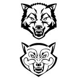 Wolf's heads showing teeth Stock Photos
