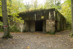 Wolf`s Lair, Adolf Hitler`s Bunker, Poland. First Eastern Front military headquarters, World War II. Complex blown up, abandoned. Wolf`s Lair, Adolf Hitler`s stock photography