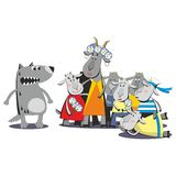 Wolf and seven goats 07 Royalty Free Stock Image