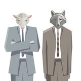 Wolf and sheep camouflage. Themselves Royalty Free Stock Image