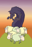 Wolf among the sheep Stock Photography