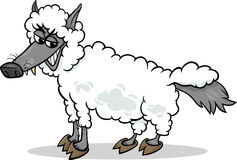 Wolf in sheeps clothing cartoon Royalty Free Stock Photography