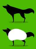 Wolf In Sheeps Clothing idiom. Wolf In Sheeps Clothing, cartoon depiction of this idiom with wolf in silhouette Royalty Free Stock Images