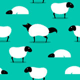Wolf In Sheeps Clothing seamless Background idiom. Wolf In Sheeps Clothing seamless Background, wolf dressed in sheep fleece hiding out in the flock Stock Photo