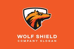 Wolf shield Logo template. Simple wolf shield Logo template with minimalist design royalty free illustration