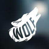 Wolf silhouette with concept text inside on blur Stock Photos