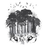 Wolf silhouette on forest background Royalty Free Stock Images