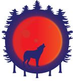Wolf silhouette howling at the full blood moon in the forest vector illustration