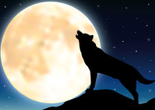 Wolf in silhouette howling to the full moon Royalty Free Stock Photo