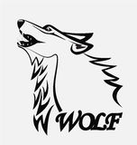 Wolf silhouette. Vector image template Stock Images