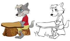 Wolf sits at a school desk Stock Photos