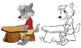 Wolf sitzt an einem Schuleschreibtisch stock abbildung