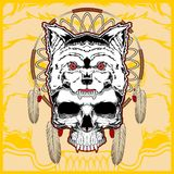 Wolf with skull hand drawing vector royalty free illustration