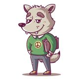 The wolf smiles. young student with a book. stock illustration