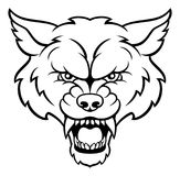 Wolf Sports Mascot Angry Face Images stock