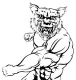 Wolf sports mascot punching. A mean tough wolf animal sports mascot punching at viewer Royalty Free Stock Images