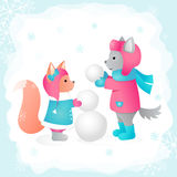 Wolf and Squirrel sculpts a snowman in a forest. Vector illustration. Perfect for design cards, printing on clothing. Wolf and Squirrel sculpts a snowman in a Royalty Free Stock Photo