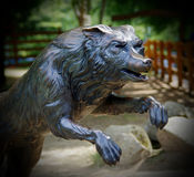 Wolf statue in the park Stock Image