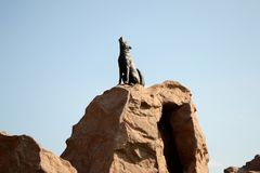 Wolf statue royalty free stock photo