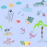 A wolf in the summer rests on the sea. Seamless pattern. royalty free illustration