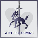Wolf, a sword and heart. WINTER IS COMING Royalty Free Stock Photography