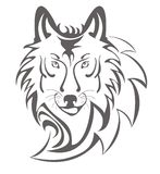 Wolf symbol. Wolf head isolated on a white background Stock Photos