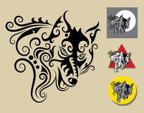 Wolf Symbol. Wolf black drawing with curl decorative ornament. Good use for logo, symbol, mascot, or any design you want. Easy to use and edit Royalty Free Stock Photos